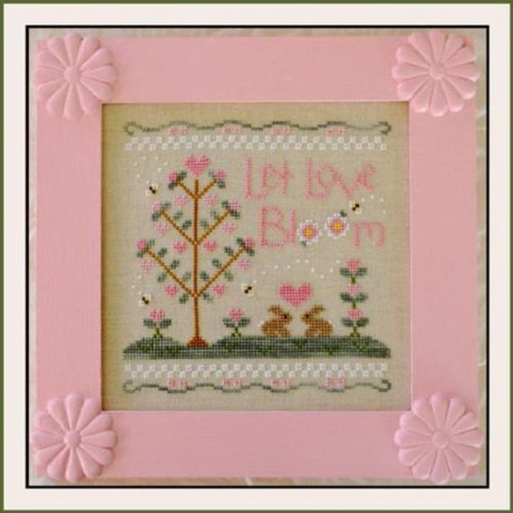 SALE** Let Love Bloom - Cross Stitch Pattern by COUNTRY COTTAGE Needleworks - Wedding - Valentine - Hearts - Pink - Sampler - Love Tree