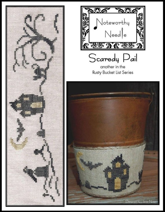 Scaredy Pail - Cross Stitch Pattern by NOTEWORTHY NEEDLE - Halloween - Haunted House - Tombstone - bats - crow