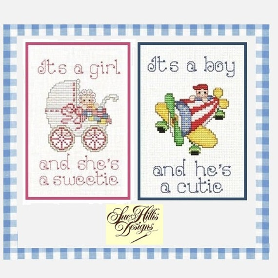 It's a Baby! - Cross Stitch Pattern by SUE HILLIS DESIGNS - Boy Girl Sampler - Baby Shower