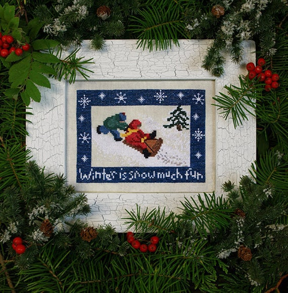 SALE 35% Off!   Snow Much Fun - Cross Stitch Pattern and Silk Threads by The Victoria Sampler - Winiter - Sledding - Children