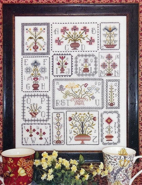 Pots of Flowers Sampler - Cross Stitch Pattern by ROSEWOOD MANOR - Topiary
