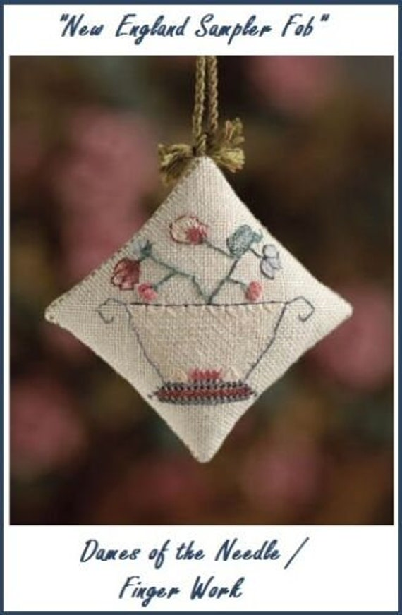 New England Sampler Fob - Cross Stitch Pattern by DAMES of the NEEDLE/Finger Work - Elizabeth Ann Talledo - Needlework Small - Ornament