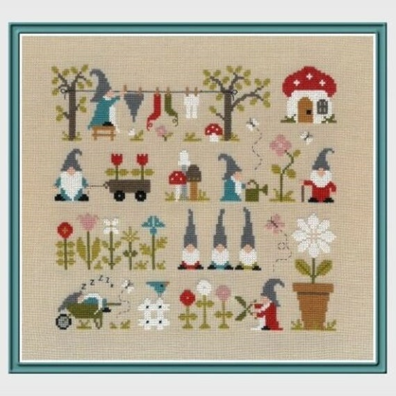 Au Pays des Gnomes - In the Land of Gnomes - Cross Stitch Pattern by JARDIN PRIVE - Garden Gnomes