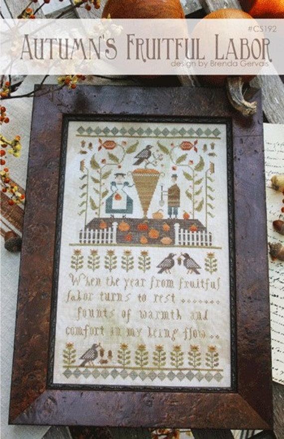 Autumn's Fruitful Labor - Cross Stitch Pattern by COUNTRY STITCHES - With Thy Needle & Thread - Fall Sampler