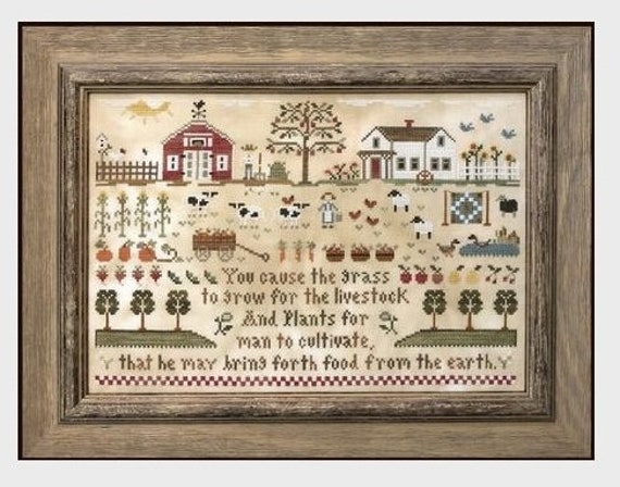 Farm Life - Cross Stitch Pattern by LITTLE HOUSE NEEDLEWORKS Harvest - Cows - Sheep - Red Barn - Farm House Sampler