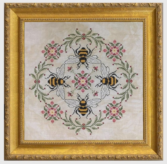 The Honeymakers - Cross Stitch Pattern by THE BLACKBERRY RABBIT - Bumblebees - Bee Sampler - Flowers