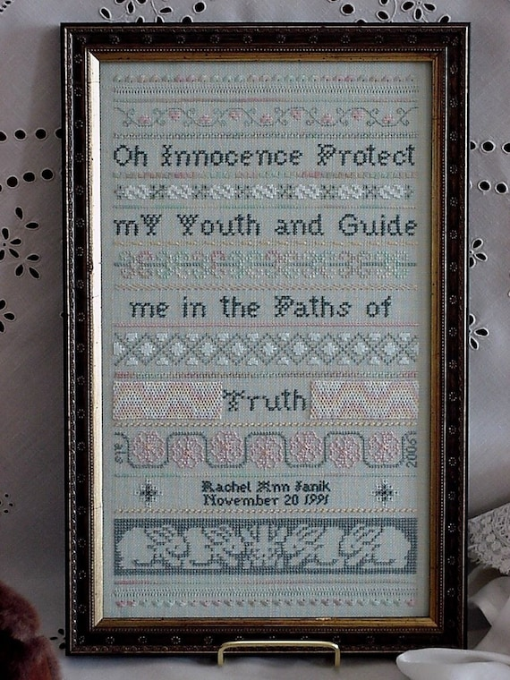 Innocence and Truth - Cross Stitch Pattern by SCHOLEHOUSE for the NEEDLE Sampler - Bunnies - Rabbits - Bunny Rabbit