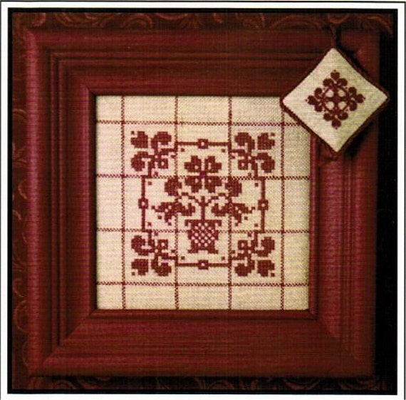 Tiny Quaker Potted Flower & Fob  - Cross Stitch Pattern and Buttons by SWEETHEART TREE Sampler - Bouquet - Redwork - Red Work - Floral