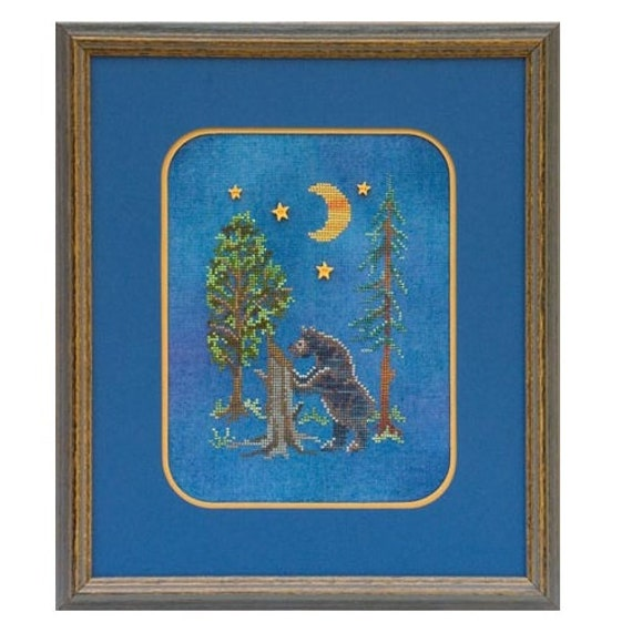 Night Time Snack - Cross Stitch Pattern by GLENDON PLACE GP-145 - Woodsy - Woods - Forest - Bear - Brown Bear - Black Bear