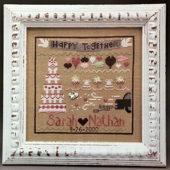 Wedding LineUp - Cross Stitch Pattern by THE TRILOGY - Line Up - Cake - Nuptuals - Happy Together - Hearts - Love - Sampler