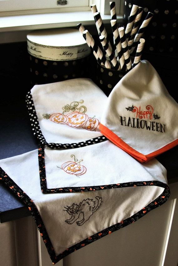 Spirited Tea Towels #326 - Hand Embroidery Pattern CRABAPPLE HILL STUDIO - Needlework - Halloween - Black Cat - Jack O' Lantern - Crab Apple