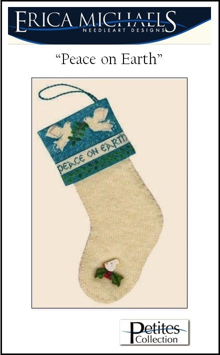 sale 40 off original price peace on earth christmas stocking cross stitch pattern silk gauze by erica michaels ornament petit point - Michaels Christmas Stockings