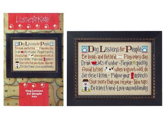 Dog Lessons for People - Cross Stitch Pattern by LIZZIE KATE #143 - Sayings - Pets - Puppies - Puppy