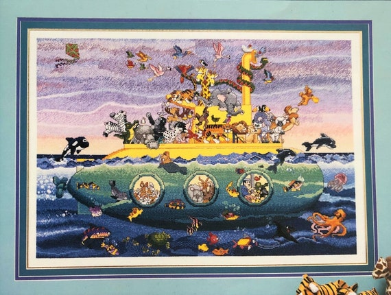 Noah's Sub - Cross Stitch Pattern STONEY CREEK COLLECTIONS Animals on a Yellow Submarine - Art by S. Moskowitz Artist