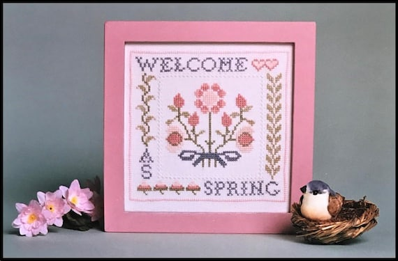 Welcome As Spring - Cross Stitch Kit by SCHOOLROOM SAMPLINGS - Includes Linen and Au Ver A Soie Silk Threads - Pink Flowers - Bouquet