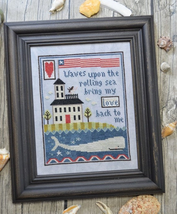 Widow's Walk - Cross Stitch Pattern by ANNIE BEEZ Folk Art - Summer Sampler - Whale - Lighthouse - Ocean - Sea