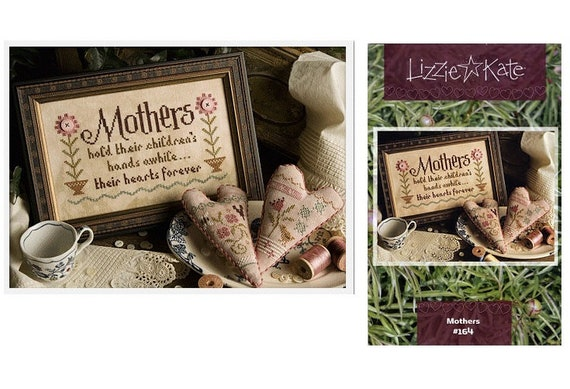 Mothers - Cross Stitch Pattern by LIZZIE KATE - #164 - Mother's Day - Hearts - Sayings