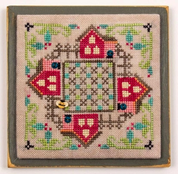 Around the Block - Square*Ology Series - Cross Stitch Pattern by HANDS ON DESIGNS Houses