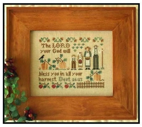 The Harvesters - Cross Stitch Pattern by LITTLE HOUSE NEEDLEWORKS Fall Autumn Sampler - The Lord Your God Will Bless You Deuteronomy 16:15