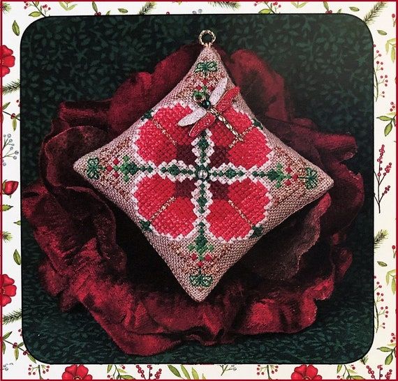 Christmas Dragon Ornament with Dragonfly Charm by JUST NAN - Needlework Small - C306