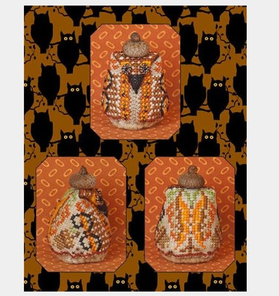 Mr. Nutley Owl - Limited Edition Cross Stitch Pattern/Kit by JUST NAN Includes Embellishments - Autumn - Needlework Small - Ornament