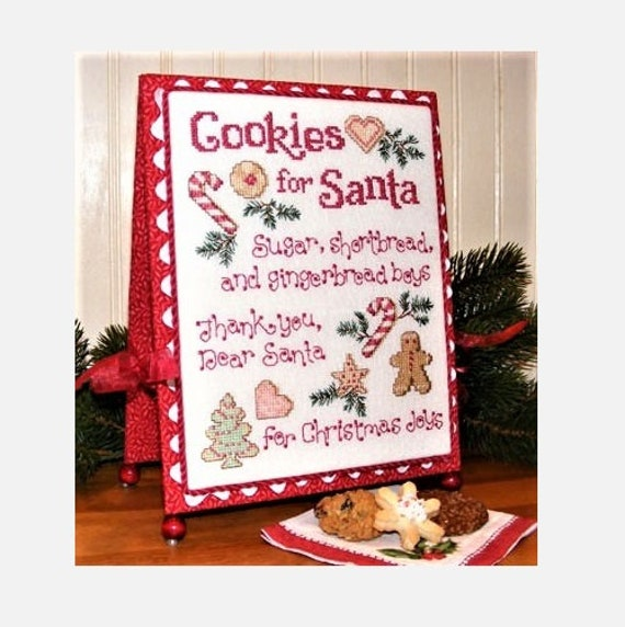 Cookies for Santa - Cross Stitch Pattern by SUE HILLIS DESIGNS - Christmas - Gingerbread Man - Sugar Cookies - Candy Cane