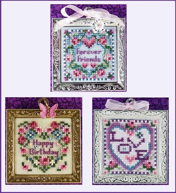 Heartfelt - Cross Stitch Pattern by JUST NAN Includes Embellishments - Valentine Hearts - Happy Birthday - Forever Friends - Love