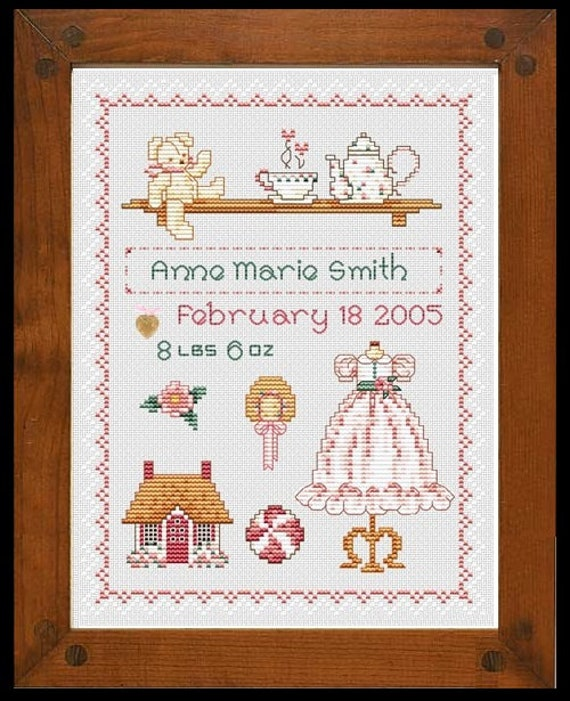 Sugar 'n Spice - Cross Stitch Pattern by SUE HILLIS DESIGNS - Baby Girl Sampler - Birth Announcement