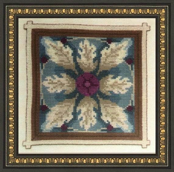 Ceramic Tile I - Cross Stitch Pattern by JEANETTE ARDERN DESIGNS Flower A012