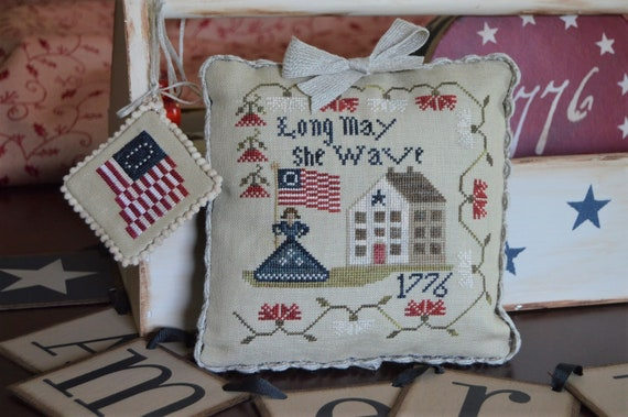 Long May She Wave - A Patriotic Series Cross Stitch Pattern by ABBY ROSE DESIGNS - usa - 1776 - Americana - American - Ornament