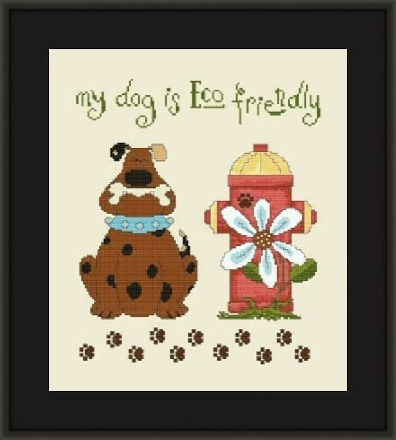 My Dog is Eco-Friendly - Cross Stitch Pattern by HELGA MANDL - Dog with Bone - Fire Hydrant