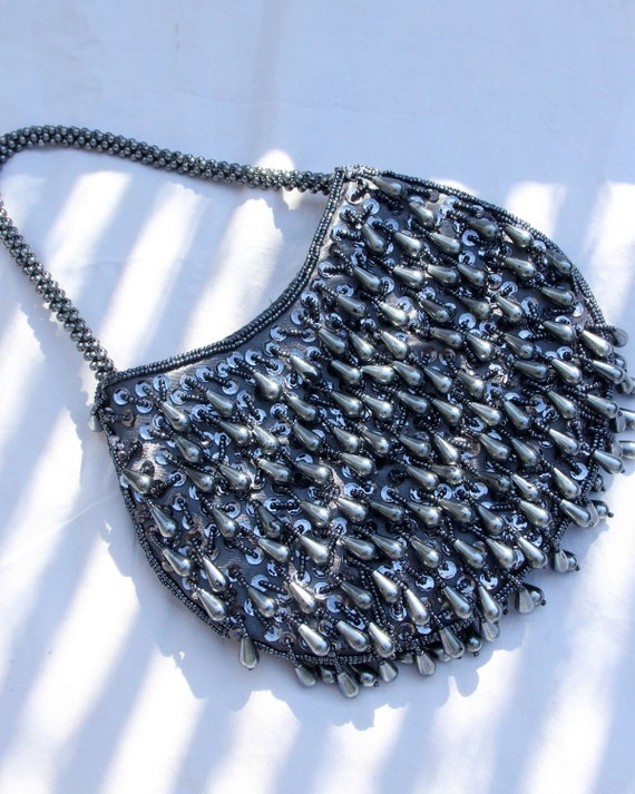 Vintage 1970s Slate Blue Beaded Mini Purse