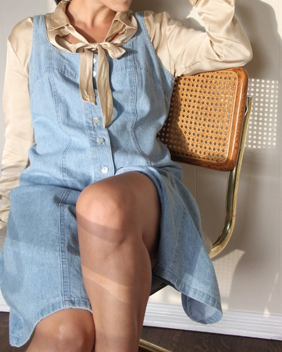 Vintage 1980s Abalone Button Denim Mini Dress - M