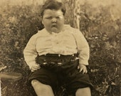 1920s Child Identified w Weight RPPC Photo - Carnival