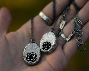 Sunken Succulent Necklace - Sterling Silver - Succulent Necklace - Woodland Necklace - Mother's Day - Wood Grain - Tree Bark - One of a Kind
