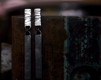Silver Bar Dangles - Dangle Earrings - Bar Dangles - Sterling Silver - Textured Earrings - Flat Black Silver - Black Silver - Black Dangles