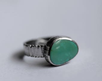 Turquoise Pebble Ring - Aqua Blue - Sterling Silver - Tree Rings - Bark Textured Band - Size 7.5 - Woodland Wedding - Birch Bark - Wife Gift