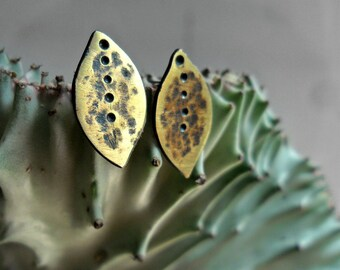 Textured Brass Leaves - Post Earrings - Sterling Silver - One of a Kind - Summer Fashion