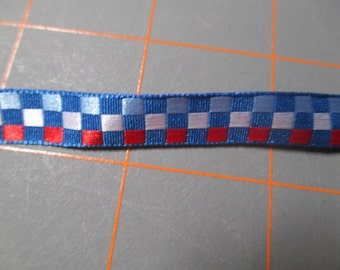 8 Yards of Checked Reversible Ribbon/Trim - 2 different color patterns