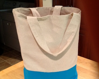 Canvas Beach/Market/Book Tote Bag With Boxed Bottom/Dual Handles