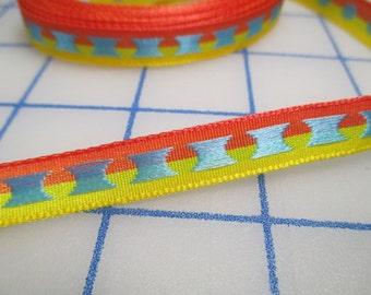 Reversible Grosgrain Ribbon/Trim - Orange/Yellow/Blue - 5 yards