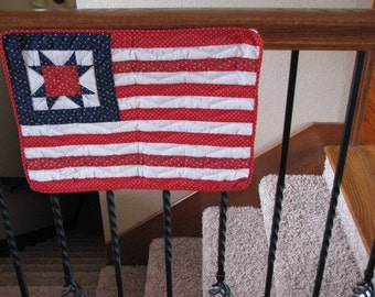 Quilted Flag Featuring Red, White And Blue, Stars And Stripes