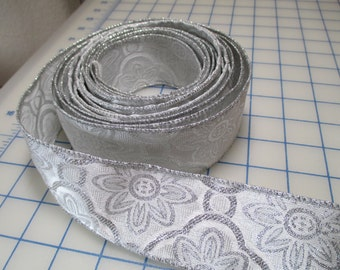 4 Yards-Silver Glitter Wired Wide Ribbon - 2 inches wide