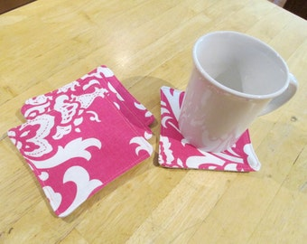 Set of 4 Pink Fabric Coasters