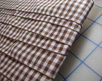 5 Yards Brown and White Checked Ribbon/Trim - 1.50 inches wide