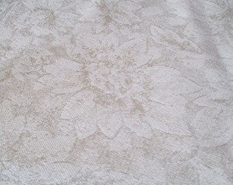 Beige/Tan Large Floral Upholstery Fabric - 1 YARD