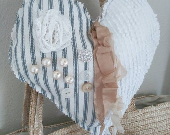 Shabby farmhouse rustic fabric lavender hanging heart ribbon rhinestone pearls buttons vintage crochet ticking chenille