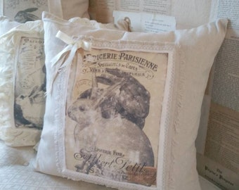 Vintage French Rabbit image large pillow shabby cottage vintage lace and ribbon drop cloth