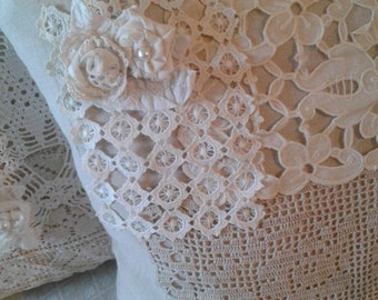 Cottage Pillow Farmhouse Doily Pearls Shabby Neutral Cream White Ivory vintage crochet tatted lace