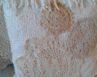 Vintage repurposed Chenille antique crochet doily pillow shabby farmhouse charm